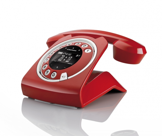grundig sixty rot retro design schnurlos telefon mit anrufbeantworter ab 1 euro ebay. Black Bedroom Furniture Sets. Home Design Ideas
