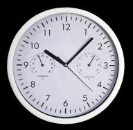 Design-Wanduhr mit Thermo- Hygrometer, schwarzer Ziffernblatt, Ø:25