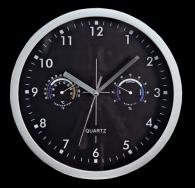 Design-Wanduhr mit Thermo- Hygrometer, schwarzes Ziffernblatt, Ø:25