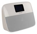 Tragbarer Bluetooth-Lautsprecher mit Wecker weiß