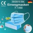 50 Stück Maske Mundschutz Gesichtsschutz Atemschutz - 3 lagig